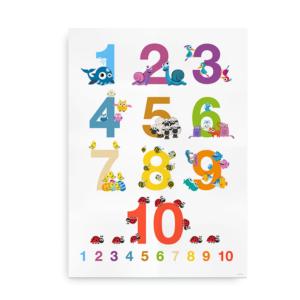 Talplakat med illustrationer - Plakat med tal