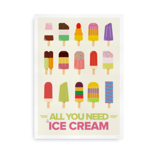 All you need is ice cream - plakat med is
