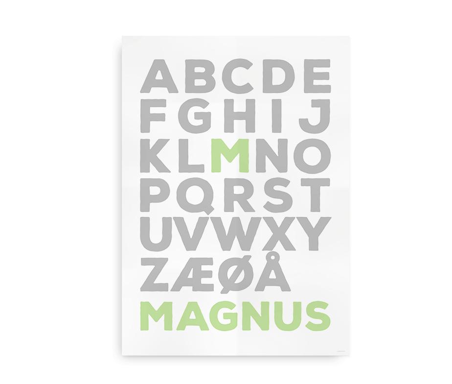 Plakat med navn og dansk alfabet - Forbogstav i farve - til drenge