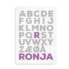 Plakat med navn og alfabetet - Forbogstav i farve - til piger