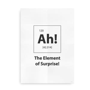 """Plakat til de sjove nørder - """"Ah! The element of surprise"""" - hvid"""