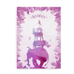 Safariplakat med navn pink og lilla