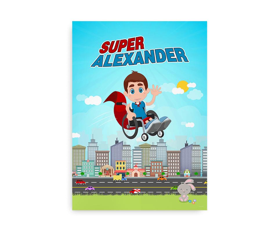 """""""Superhelt i kørestol"""" - Navneplakaten til barnet i kørestol"""