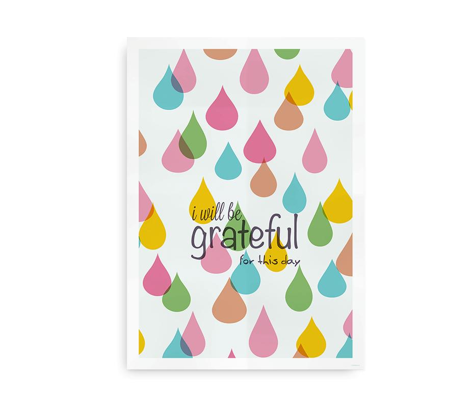 I Will be grateful for this day - plakat med regndråber