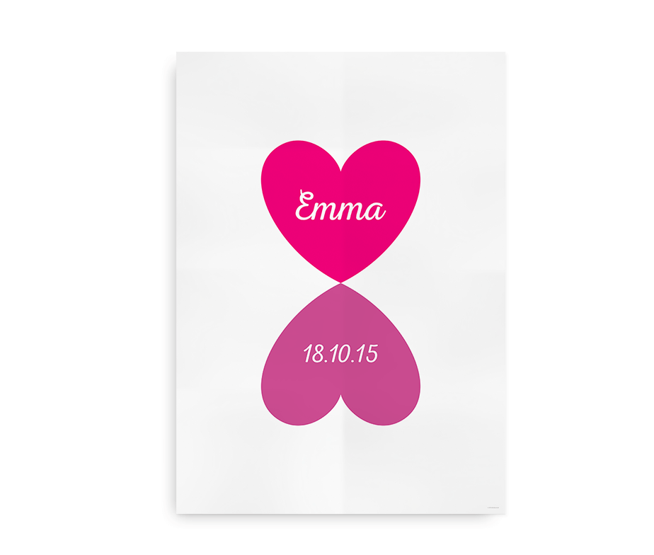 Navneplakat med hjerter til baby pige
