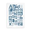 Alfabetplakat i skandinavisk stil blå