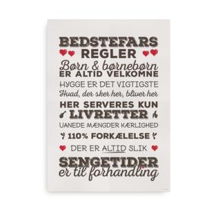 """Den klassiske """"Bedstefars Regler"""" plakat - brun med røde hjerter"""