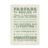 """Sjov citatplakat med """"Farfars Regler"""" - grøn tekst på beige baggrund"""