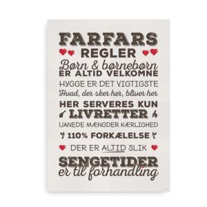 """Den klassiske plakat med """"Farfars Regler"""" - Brun med røde hjerter"""