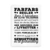 """Plakat med """"Farfars Regler"""" - sort på hvid baggrund"""