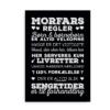 """Plakat med """"Morfars husregler"""" - hvid på sort baggrund"""