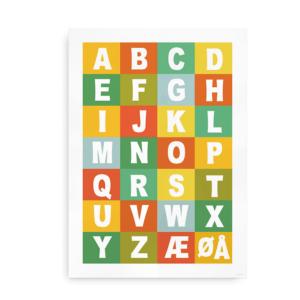 Alfabetplakat i flere farver - multifarvet