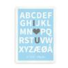 I Love You plakat med navn - blå