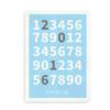 Plakat med tal og fødselsdato - blå
