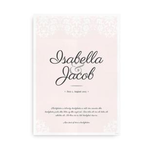 Bryllupsplakat med navne og dato rose