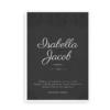 Bryllupsplakat med navne og dato sort
