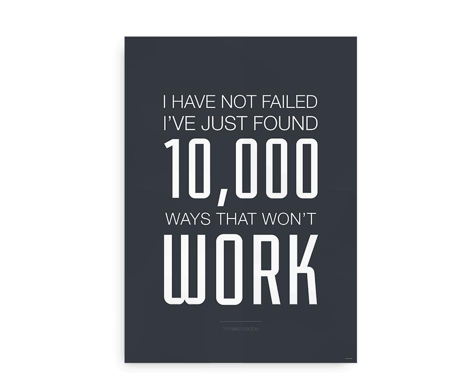 "Plakat med Thomas Edison citat - ""10.000 ways that won't work"""