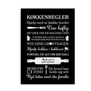 """Plakat til køkkenet i sort med """"Køkkenregler"""""""