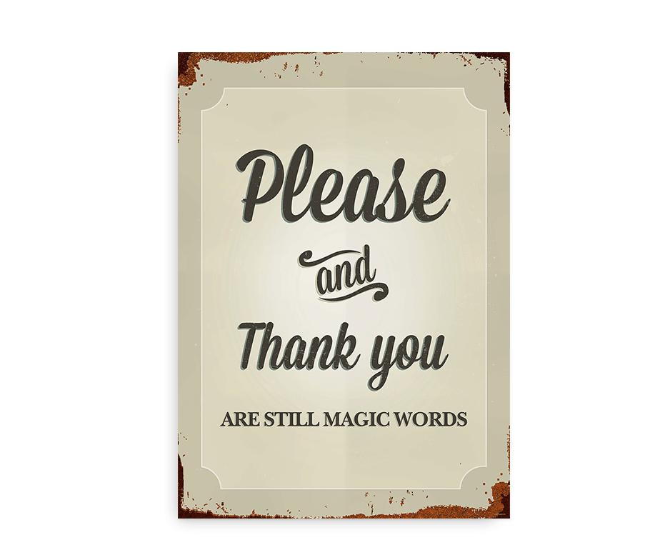 Please and Thank You - plakat med emaljeskilt-look