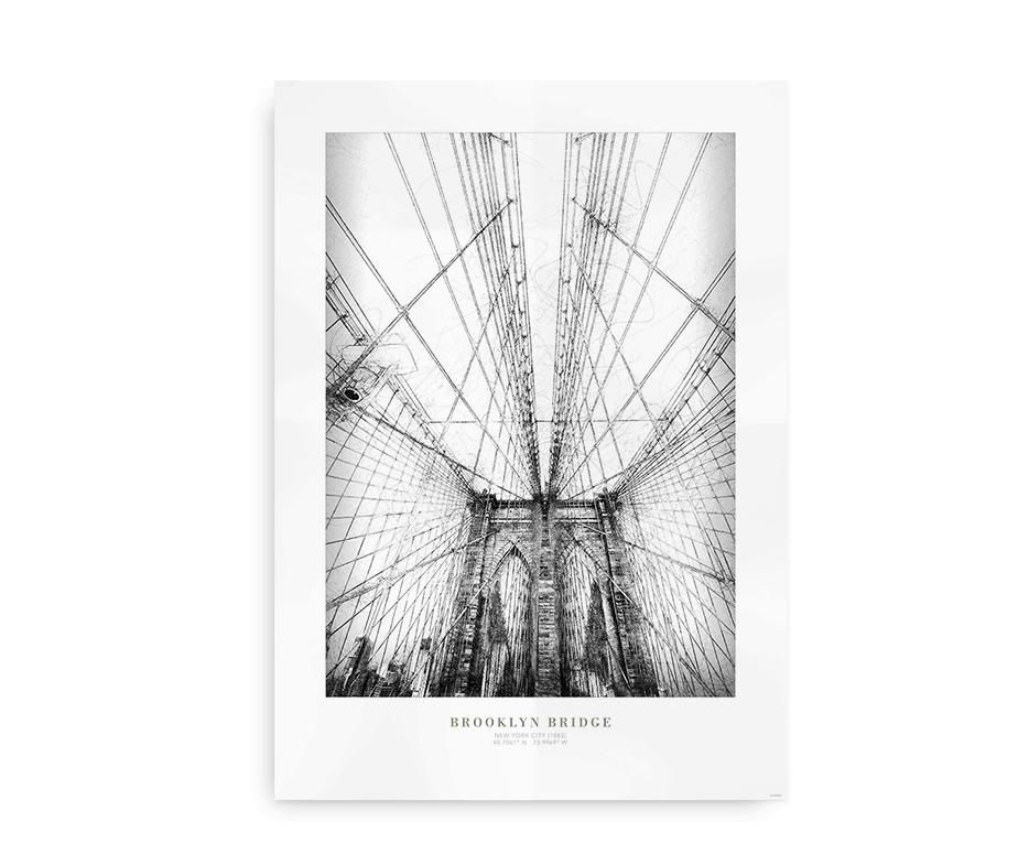 Plakat med New Yorks Brooklyn Bridge