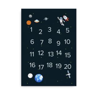 Rumplakat med tal fra 1 til 20