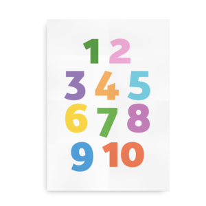 Farvet talplakat - plakat med talrækken til børn