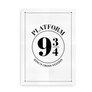 Platform 9 3_4 - Harry Potter plakat - hvid