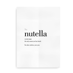 Nutella definition quote poster