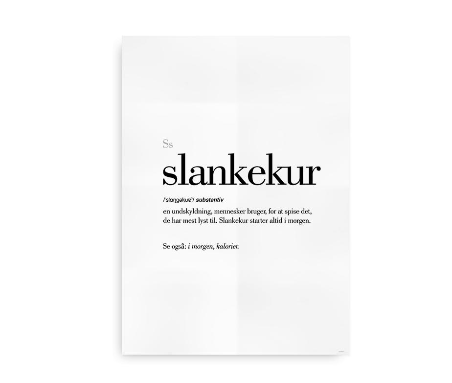 Slankekur dansk definition betydning citat plakat