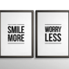 Smile More, Worry Less - hvid citatplakat