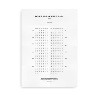 Dont break the chain - kalender 2020 plakat