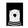 Isbjørn - Plakat med isbjørn til drenge og piger_sort hvid