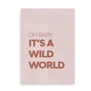 Baby it's a wild world - citat plakat rosa