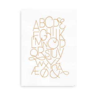 Moderne alfabetplakat - orange