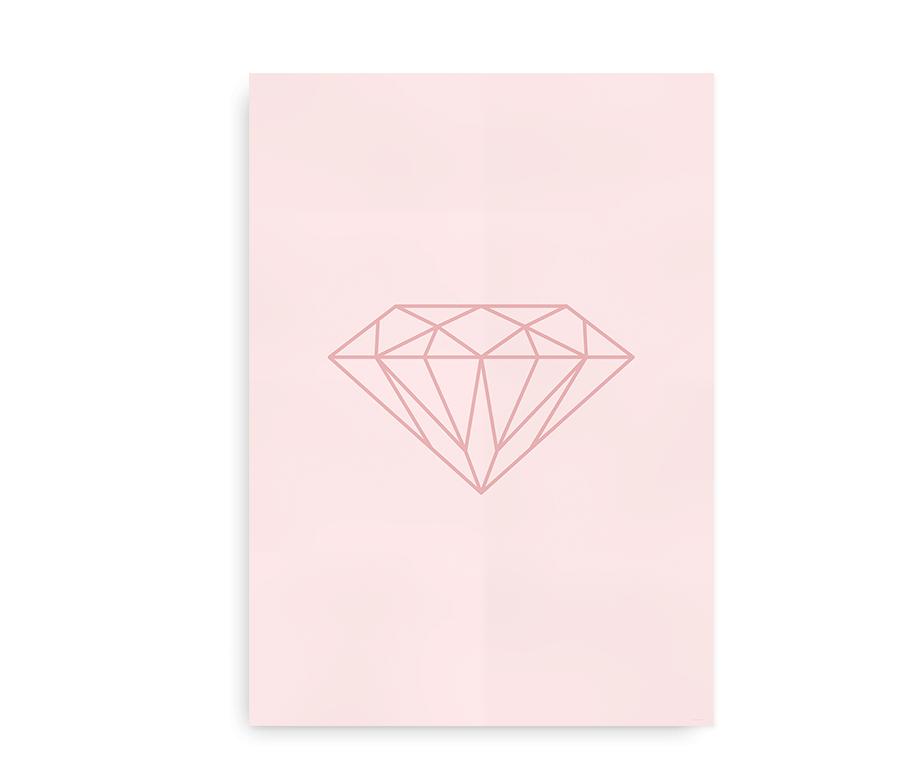Shine Bright - plakat med diamant - Rosa
